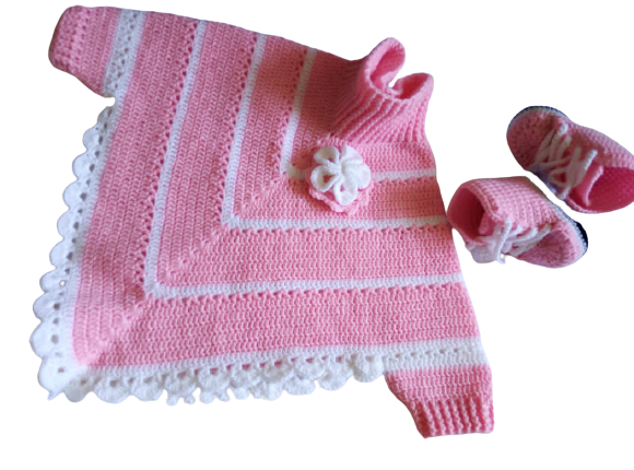 Highneck crochet baby poncho/pink_white pullneck crochet poncho with matching booties