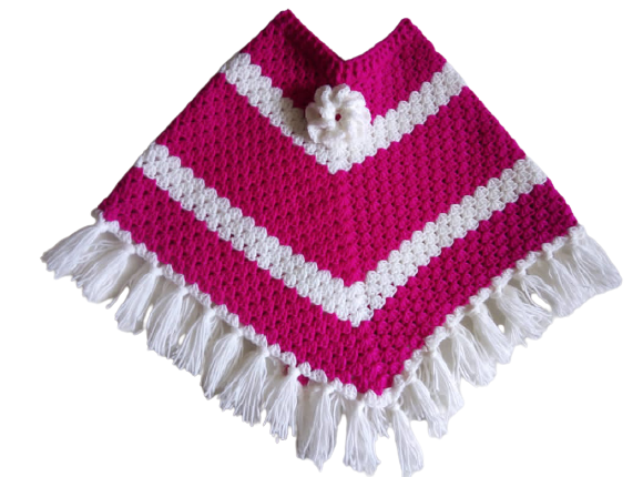 Cute handmade kids poncho/ pink and white crochet baby poncho with tassels