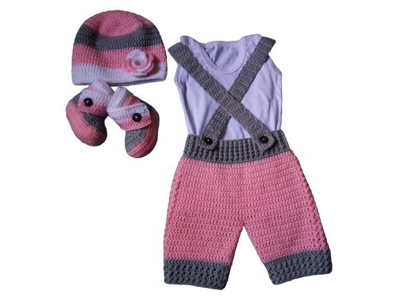 Babygirl crochet set/suspender shorts, booties and beanie hat.